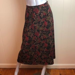 3/$27 Dress Barn Black Red Leaf Print Maxi Skirt